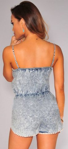 Acid Wash Denim Crochet Trim Romper