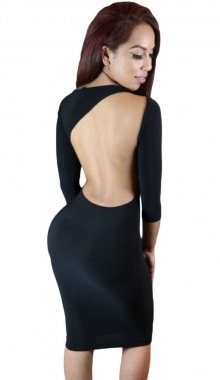 Black Irregular Cutout Back Long Sleeved Black Mini Dress
