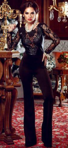 Black Lace Leather Splice Flare Party Jumpsuit