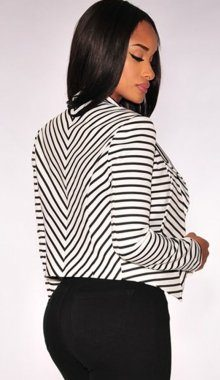 Black White Striped Ladies Jackets And Blazers