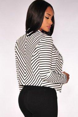 Black White Striped Ladies Jackets And Blazers