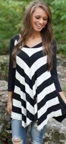 Black White Stripes Irregular Long Blouse