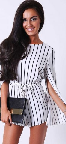 Black and White Stripe Rompers For Juniors
