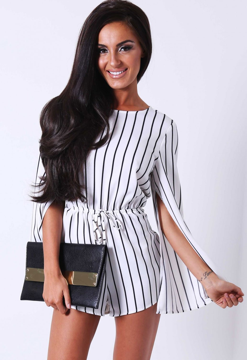 Black And White Stripe Rompers For Juniors Online Store