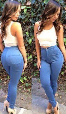 Blue Zipper Fly High Waist Cruel Girl Jeans