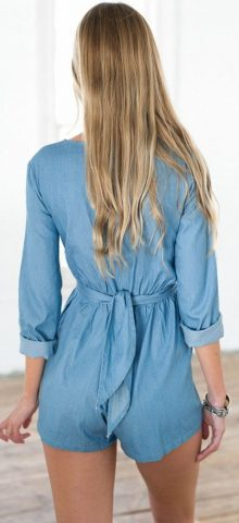 Free Shipping Women Wrapped in Short Blue Summer Jumpsuits