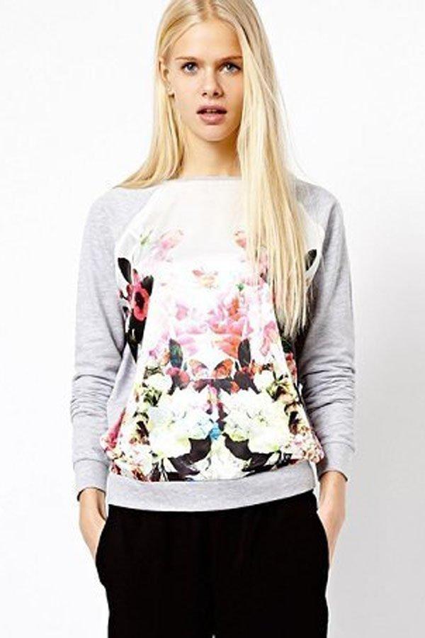 Grey Floral Print Raglan Sleeve Pullover Sweatshirt
