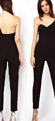 High Quality Backless Black One Shoulder Jumpsuit