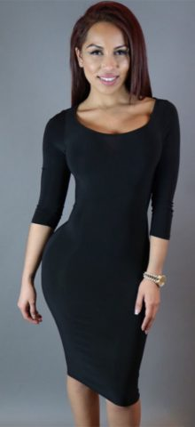 Irregular Cutout Back Long Sleeved Black Mini Dress