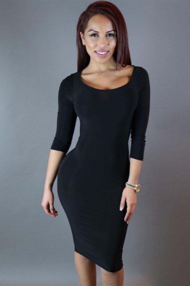 Long Sleeved Black Mini Dress