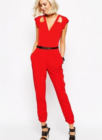 Red Cut out Wrap Front Belted Jumpsuit
