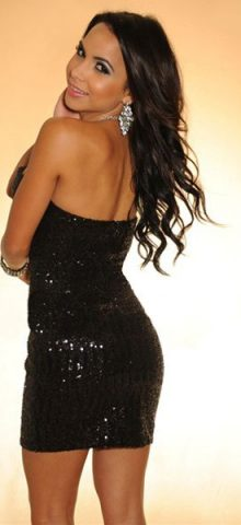 Sequined Strapless Black Short Sexy Mini Club Dresses