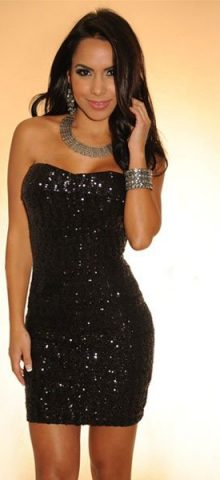 Sequined Strapless Black Short Sexy Mini Club Dresses