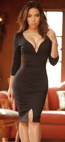 Sexy V Neck Sleeved Bodycon Long Sleeve Black Lace Mini Dress