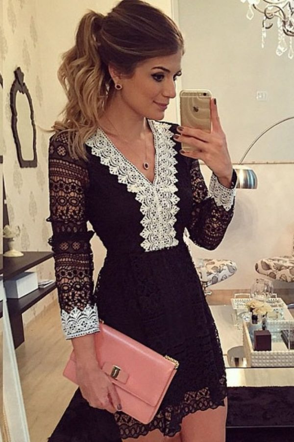 Sheer Hollow out Sexy Black Long Sleeve Lace Mini Dresses