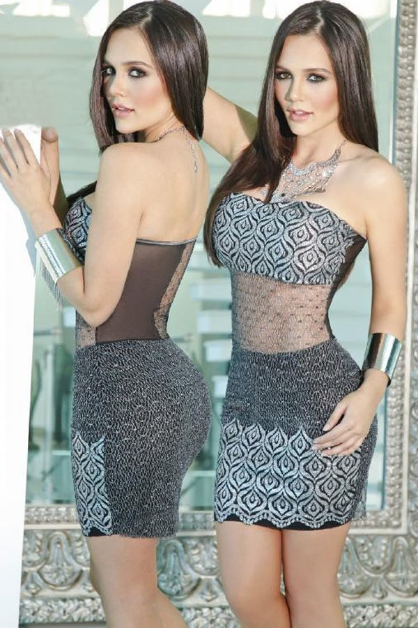 Silver Grey Sultry Tube Sexy Cocktail Dresses