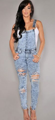 Stone Wash Denim Destroyed Fitted Overall