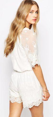 White Lacy Mesh Overlay Elegant Playsuit