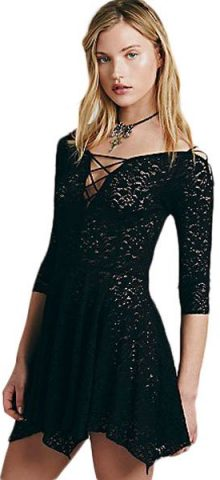 Women Black Sheer Lace Sleeved Skater Dress