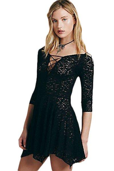 Women Black Sheer Lace Sleeved Skater Dress