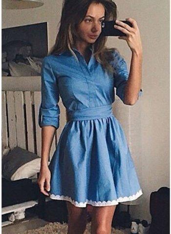Women Blue Lace Trim Shirt Denim Skater Dress