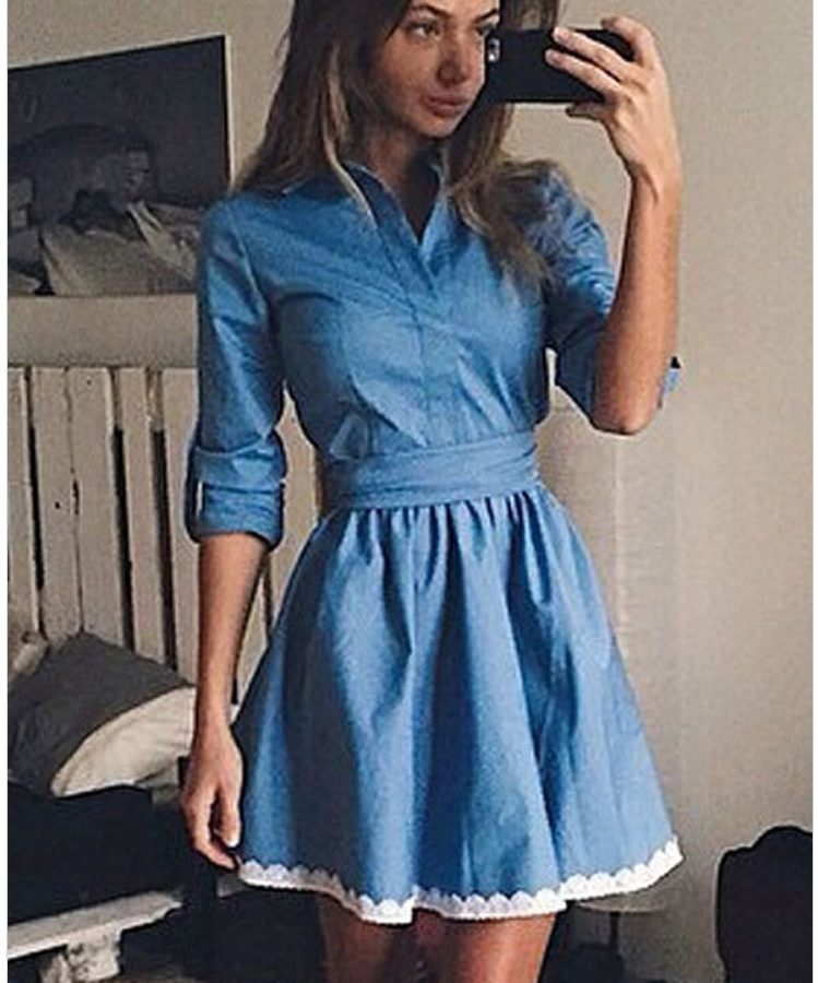 Women Blue Lace Trim Shirt Denim Skater Dress