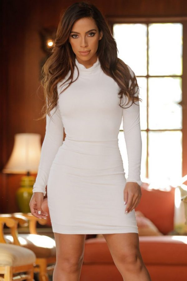 9c362ba0543 Women White Long Sleeve Open Back Mini Dresses<meta name=
