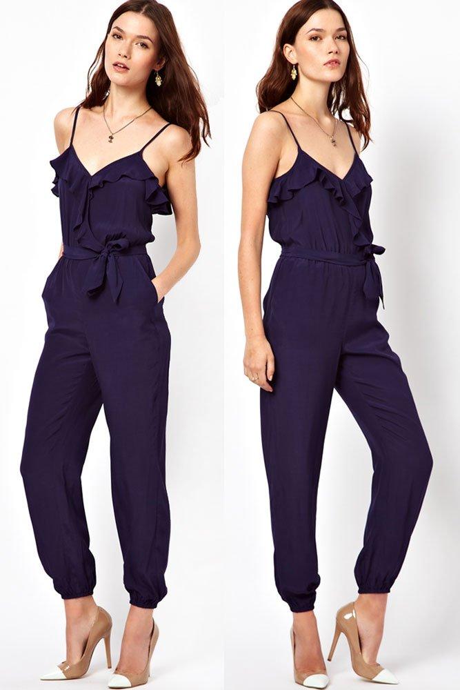 Blue Dressy Plus Jumpsuit: Women And Ladies Blue Dressy Jumpsuits