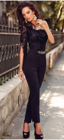 Asymmetric One Sleeve Lace Bodice Jumpsuit Cheap Dress For Women