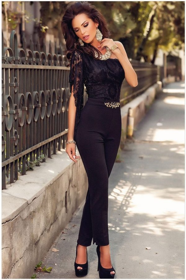 Asymmetric One Sleeve Lace Bodice Jumpsuit Cheap Dress For Women