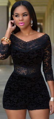 Black Lace Overlay Off-shoulder Floral Jumpsuit