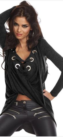 Black Lace Up Long Sleeve Ruched Women Pullover Sweaters