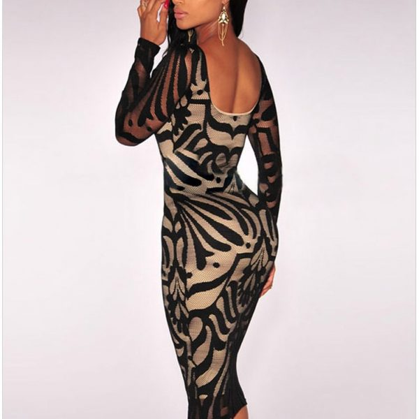 17bfd66c282 ... Black Plus Victorian Net Nude Illusion Full Sleeves One Piece Dress ...