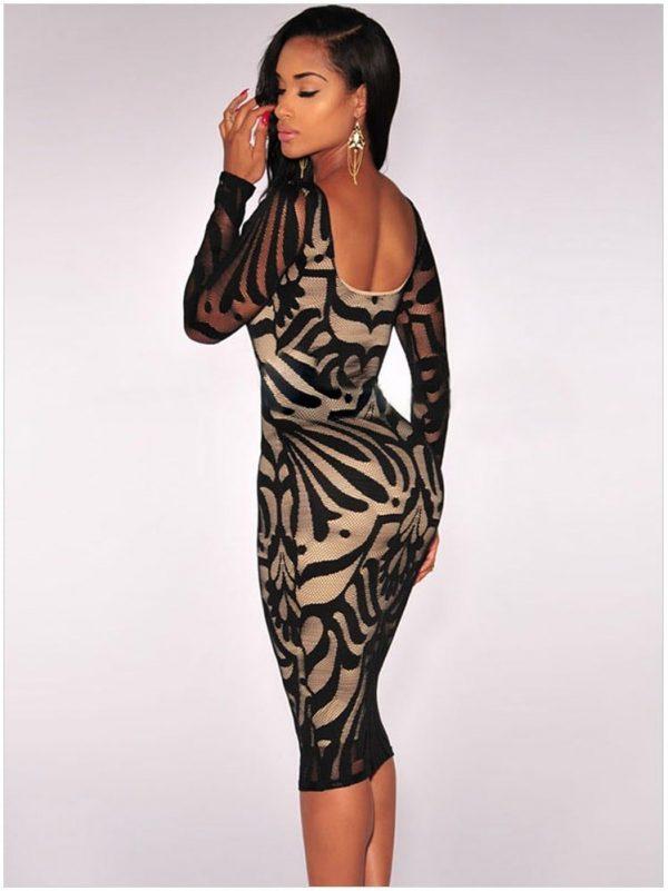 Black Plus Victorian Net Nude Illusion Full Sleeves One Piece Dress