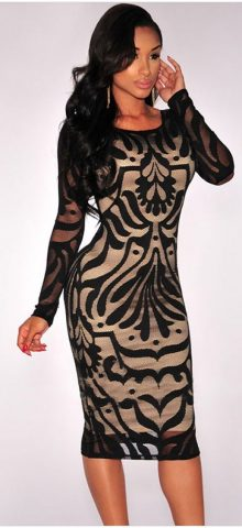 Black Plus Victorian Net Nude Illusion Full Sleeves One Piece Dress