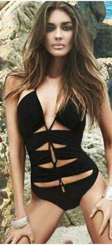 Black Women Lace-up Halterneck Monokini Swimsuits