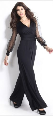 Hualong Black Mess Long Sleeves Dressy Jumpsuits Evening Wear
