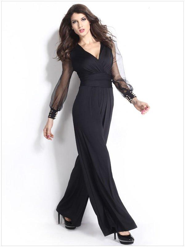 8fbc0b4d2bc29 Hualong Black Mess Long Sleeves Dressy Jumpsuits Evening Wear (2 ...