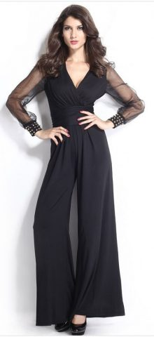 Hualong Black Mess Long Sleeves Dressy Jumpsuits Evening Wear