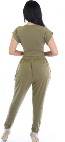 Olive Relaxed Loose Fitting Cheap Club Jumpsuits