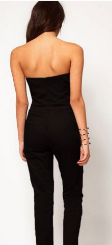 Sexy Black Petite Women Strapless Jumpsuit