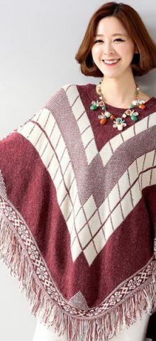 Red Batwing Patterned Poncho Pullover Sweaters For Women