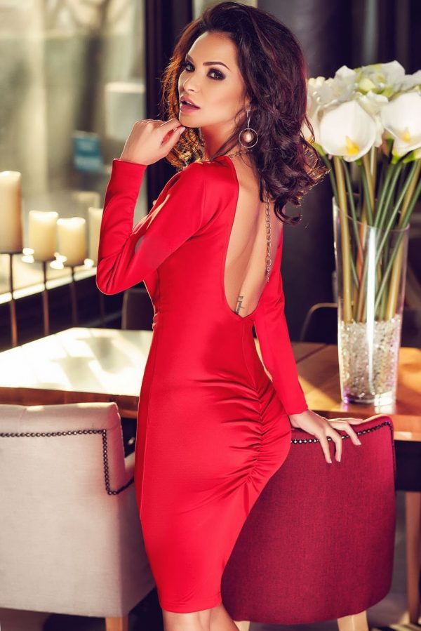 Red Open Back Button Detail Hi-low Bodycon Sexy Dresses For The Club