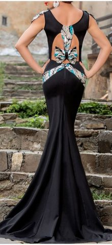 Silver Sequin Embellishment Elegant 2014 Mermaid Prom Dresses