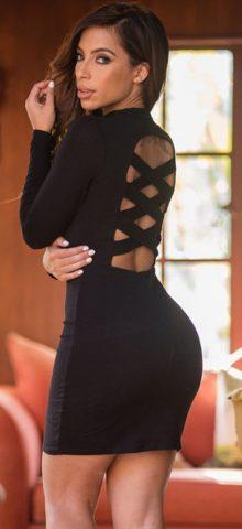Waist Cutout Detail Long Sleeve Little Black Cheap Sexy Club Dress