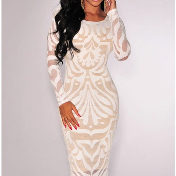 20293c1dee1 ... White Plus Victorian Net Nude Illusion Full Sleeves One Piece Dress ...