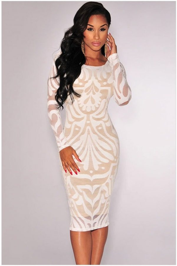 White Plus Victorian Net Nude Illusion Full Sleeves One Piece Dress