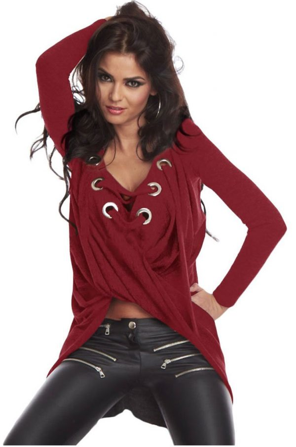 Wine Lace Up Long Sleeve Ruched Women Pullover Sweaters