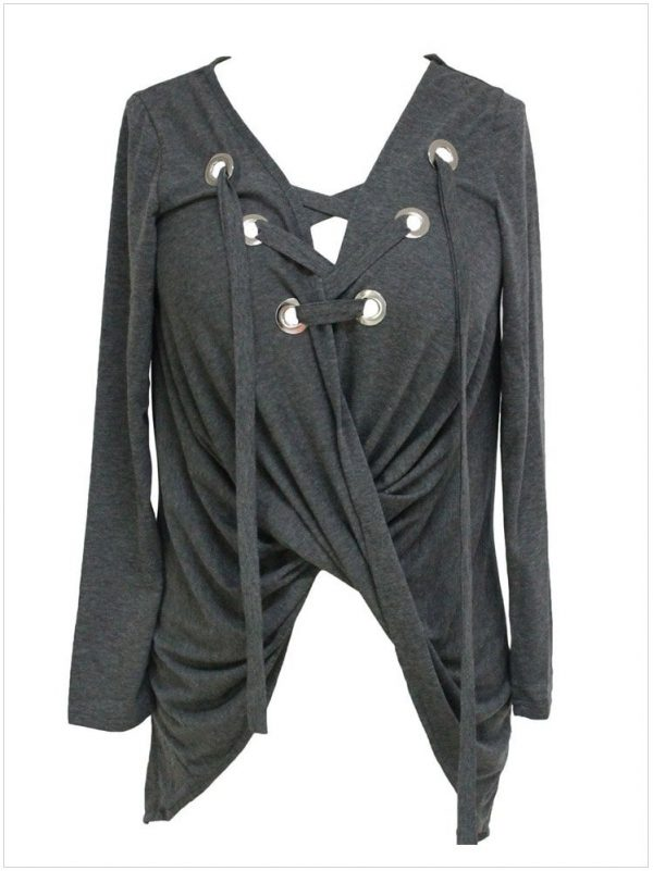 gray Lace Up Long Sleeve Ruched Women Pullover Sweaters