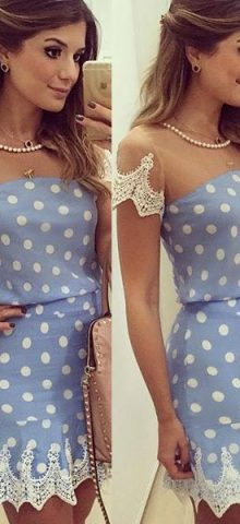 2016 Boho Short Blue and White Trimmed Lace Cute Sexy Mini Dresses